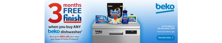 Beko 3 Months Free Finish Dishwasher Tablets with Beko Dishwasher Purchases 3rd October 2019 to 5th December 2019