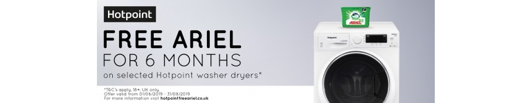 Hotpoint Laundry Promotion - 6 Months Free Ariel Supply on selected Hotpoint Washer Dryers