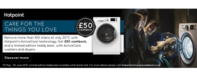 Hotpoint Active Care Laundry Promotion - £50 Cashback on Selected Appliances (T&C's apply)