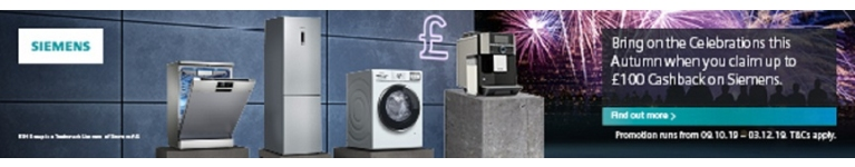 Siemens Autumn Cashback (Selected Siemens Appliances purchased 9th October 2019 to 3rd December 2019)